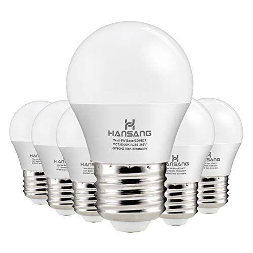 Hansang A15 Led Bulb Light 6 Watt 60w Equivalent E26 Standard Base 5000k Daylight 600 Lumens Frosted G45 A15 Bulb Shape Cri 83 Ceiling Fan Light Bulb Home App Fan Light Ceiling Fan With Light Bulb