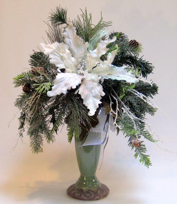 Christmas decor poinsettia table decoration holiday