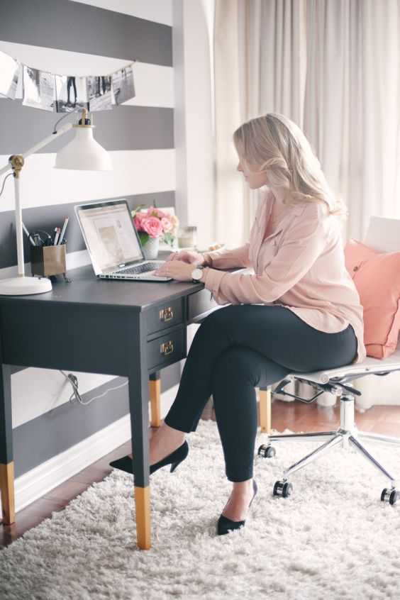 Striped wall office: http://www.stylemepretty.com/living/2015/08/08/a-pop-of-stripe-interior-decor-details/