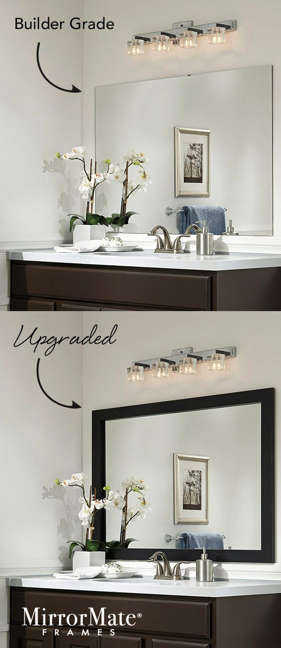 Here's an easy upgrade for a builder basic wall mirror - add a custom MirrorMate frame directly to the mirror while it's on the wall.   65 frame styles at www.mirrormate.com.