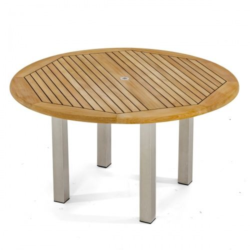 5ft Dia Vogue Table Westminster Teak Stainless Steel Furniture Round Patio Table