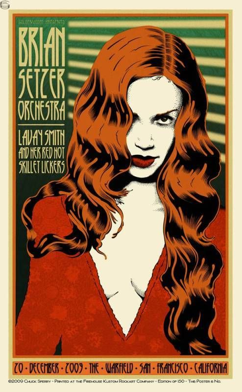 Concert poster for Brian Setzer Orchestra by Chuck Sperry.