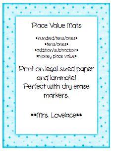 Place Value Mats: Hundreds, Tens, Ones