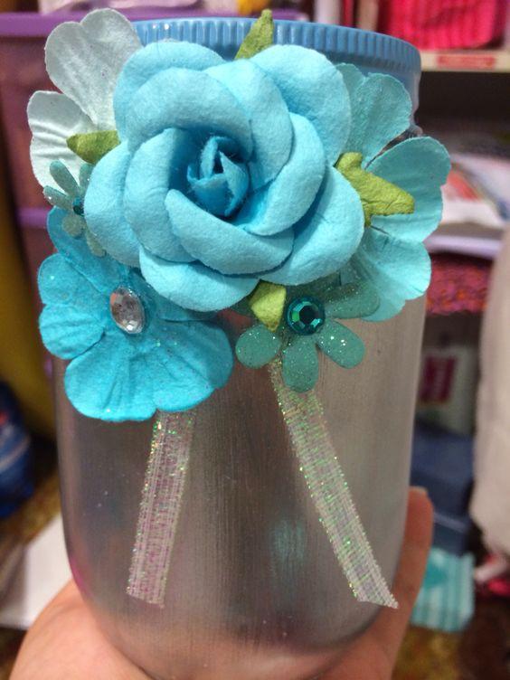 Blue bridal shower centerpiece