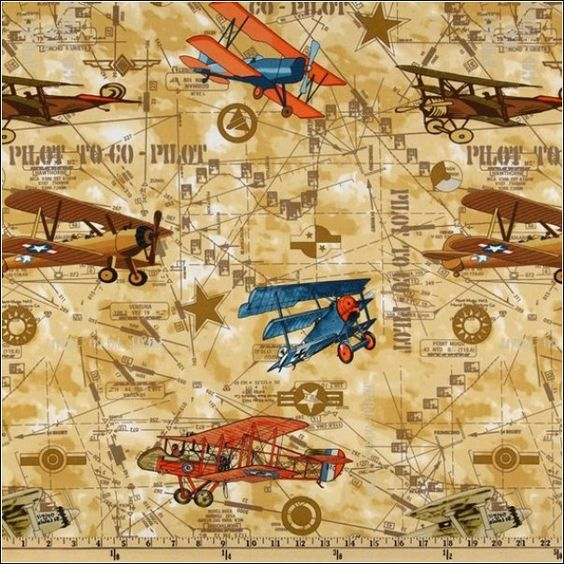vintage aircraft sewing fabric