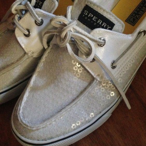 White Sequin Sperry's Worn once or twice. Size 9M Sperry Top-Sider Shoes