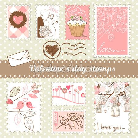 Set of valentines day stamps by AlisaFoytik - Stock Photo
