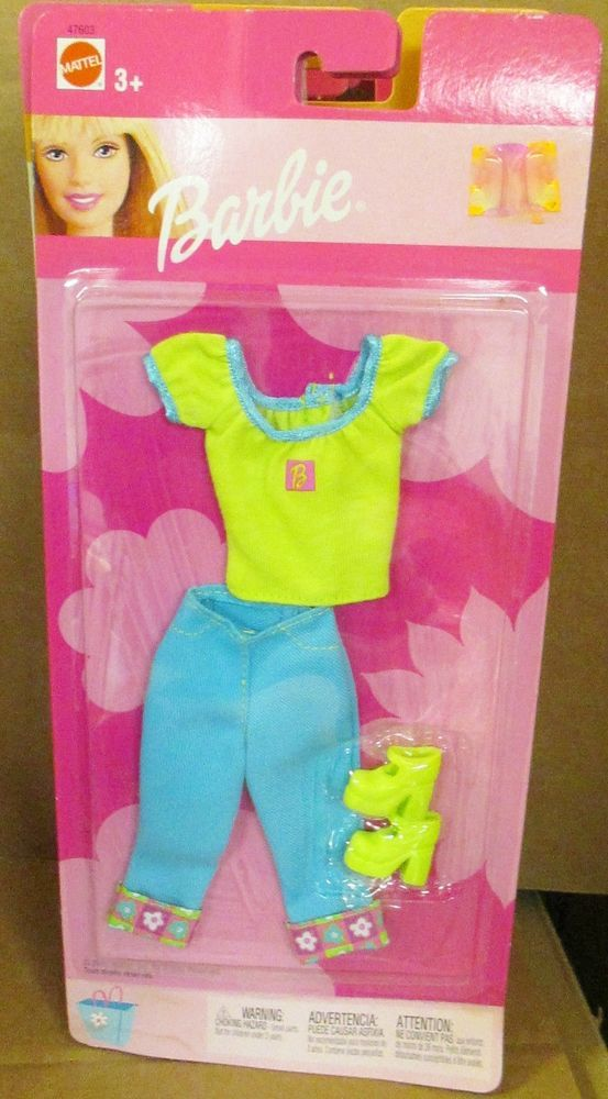 BARBIE DOLL CLOTHES KEN NEON GREEN SHORTS ONLY BRIGHT RETRO FASHION STYLE CUTE
