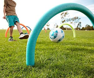 "Play ""Pool-Noodle Soccer-Wicket."""