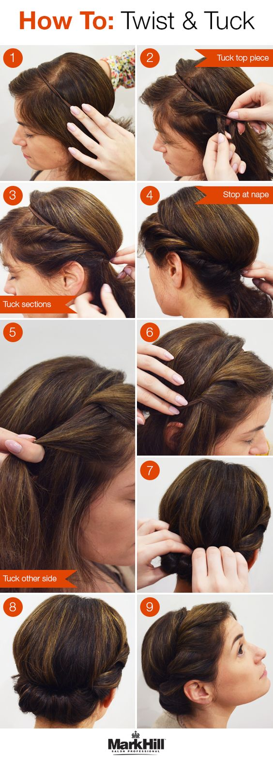 A genius trick to getting an awesome up do — all you need is a thin elastic headband.