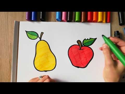 HOW TO DRAW a Pear and an Apple - coloring with markers ...