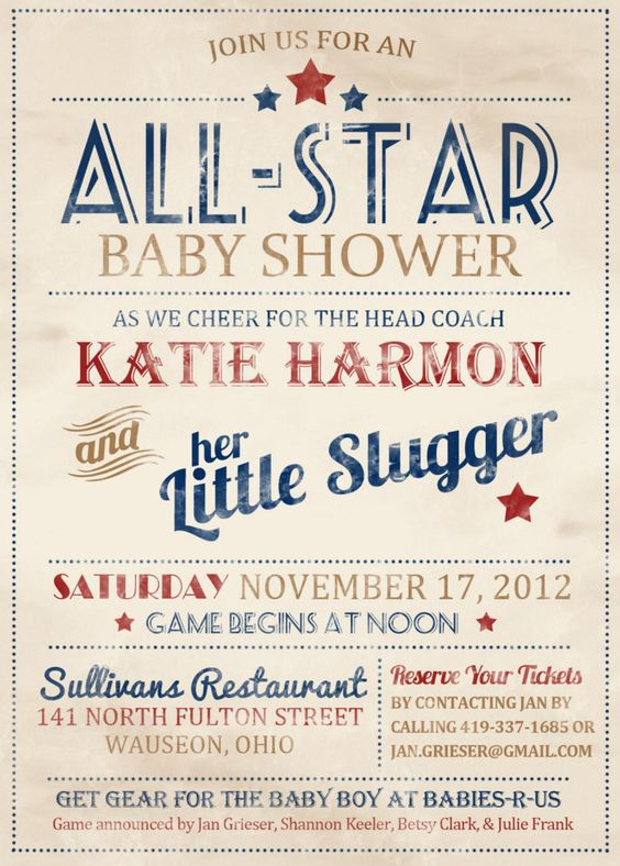 vintage baseball baby shower invitation