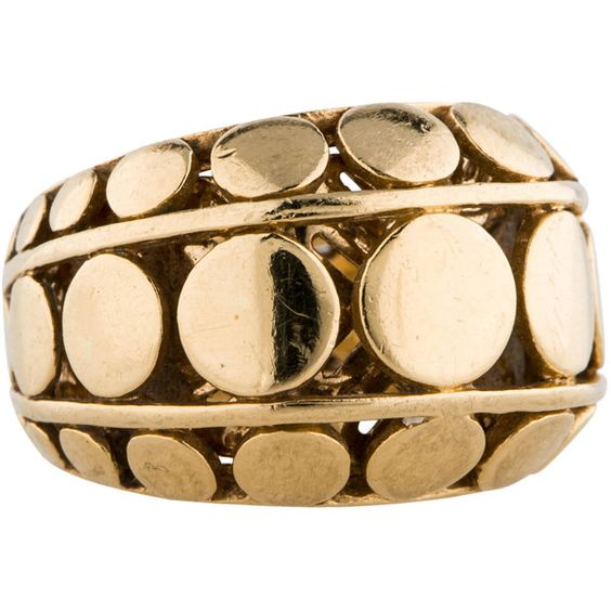 Pre-owned John Hardy 18K Dot Ring ($895) ❤ liked on Polyvore featuring jewelry, rings, john hardy jewelry, john hardy, 18k ring, gold rings and 18k gold ring
