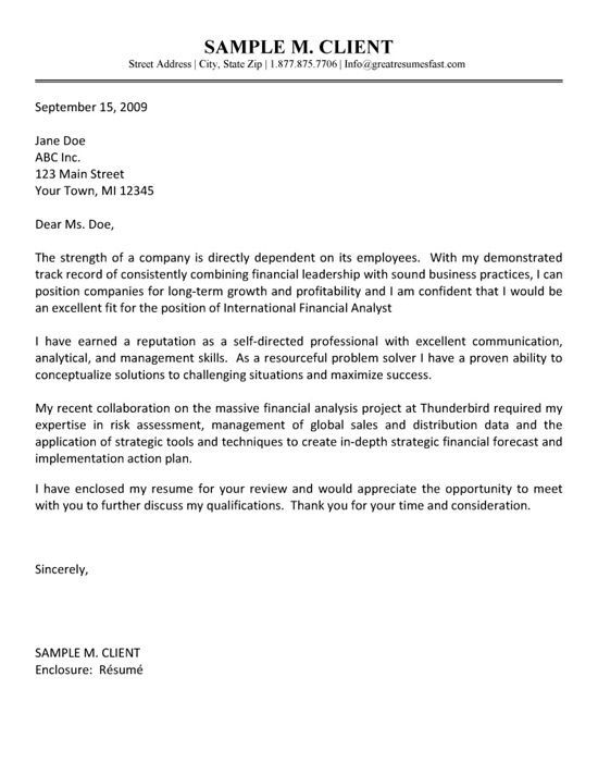 financial analyst cover letter example cover letter
