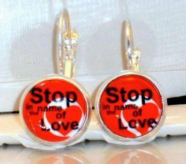 Ohrringe Herz Modeschmuck Ohrschmuck Damen Hänger Stop in the Name of Love Neuware
