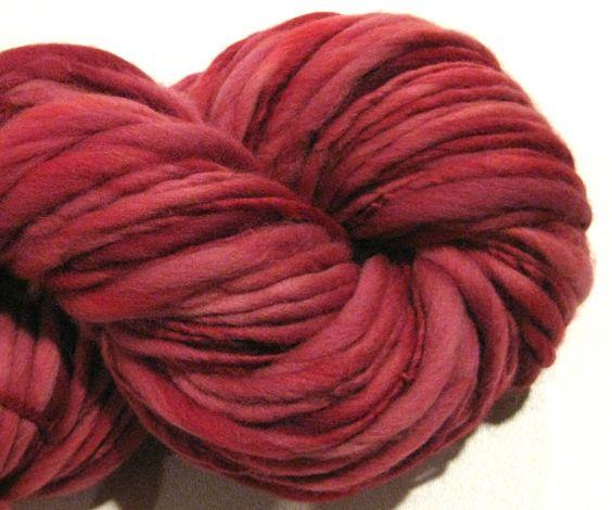 Handspun Yarn Almost Solid Cranberry 140 by SpinningWheelStudio