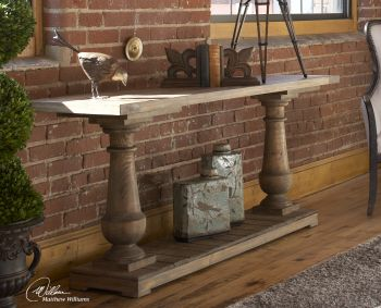 a conversation piece - console table.  You can find one similar to this at PD's in Franklin.
