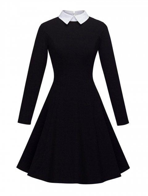 Women S Peter Pan Lapel Collar Long Sleeve Fit And Flare Dress Flare Dress Fit And Flare Dress Dress Shirts For Women