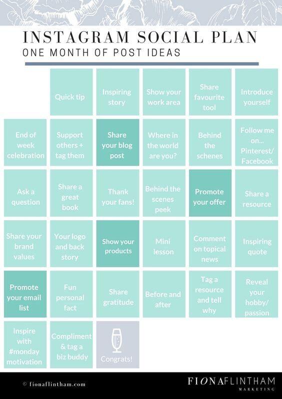social media, instagram, post ideas, tips, calendar, social media plan