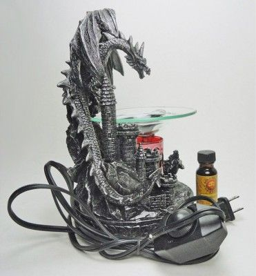 Black silver fighting dragons figurines electric scented oil warmer oil burner shows two black - Dragon oil warmer ...