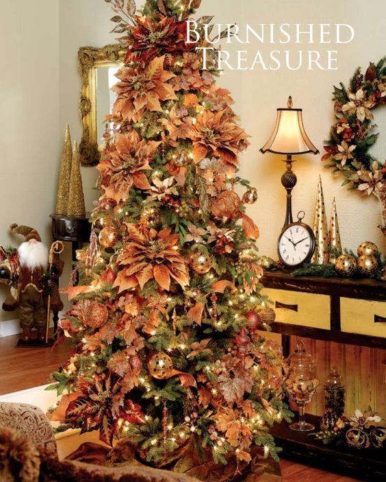 Cool Christmas Tree Decorations: Burnt Autumn Palette Christmas Tree Decorating Theme