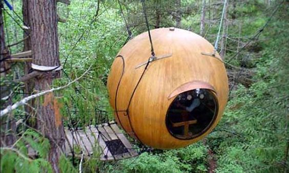 Spirit Spheres in Qualicum Beach, British Columbia. Deep in Vancouver Island's rain forest, this unexpected treehouse is available to tourists for overnight stays.