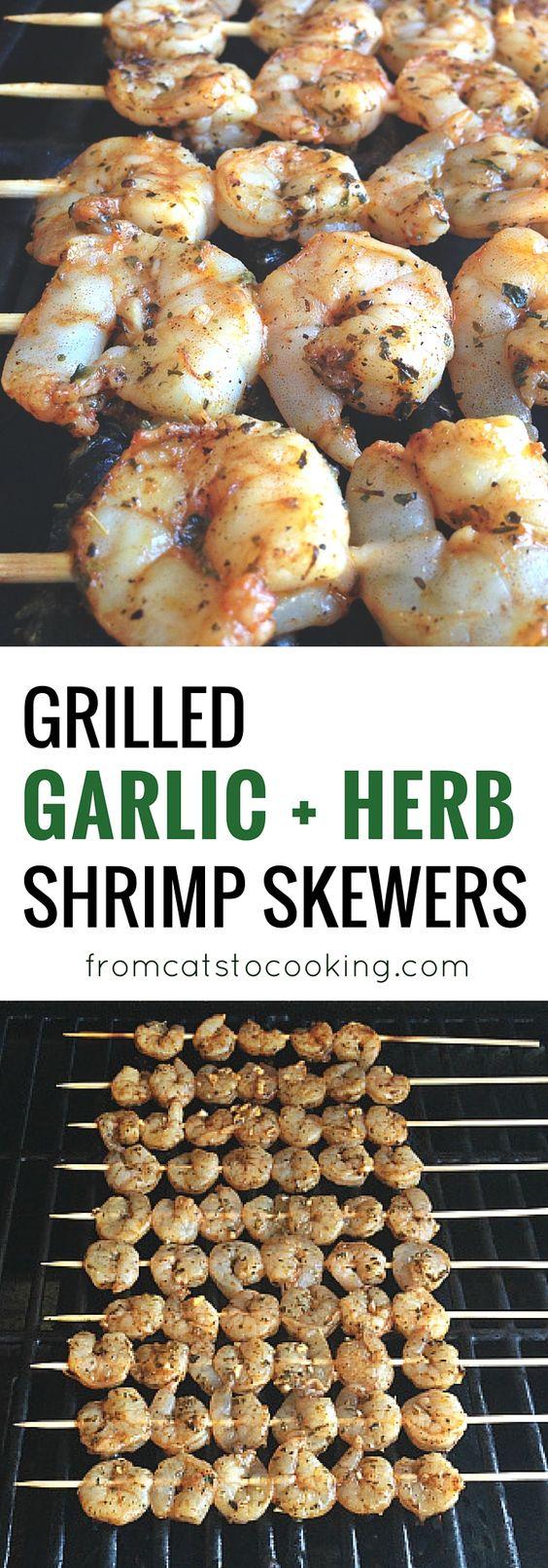 Grilled Garlic Herb Shrimp Skewers | Recipe | Shrimp Skewers, Skewer ...