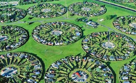 Circular tract suburban housing of Copenhagen, Denmark.