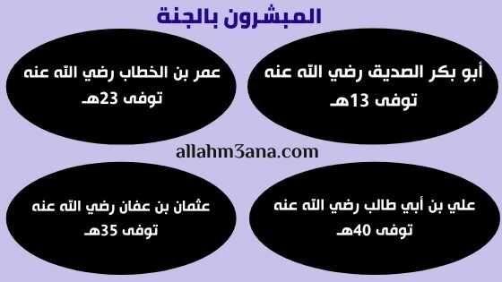 العشرة المبشرون بالجنة فضائلهم وصفاتهم الله معنا Allahm3ana Pie Chart Chart Diagram