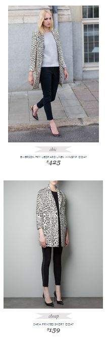 Copy Cat Chic Fashion Finds   EMERSON FRY LEOPARD LINEN WINGTIP COAT vs ZARA PRINTED SHORT COAT
