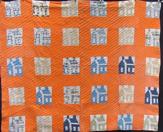 res for Linda Vintage SCHOOLHOUSE QUILT, Blues, Tan, ORANGE, 1930 s, Collectible Home Decor
