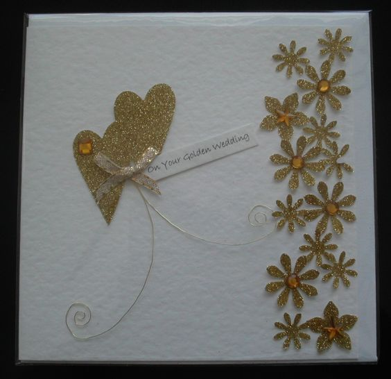 Handmade 50th Anniversary Card Golden Wedding Hearts And