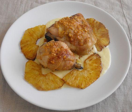 Muslos de pollo con salsa de piña