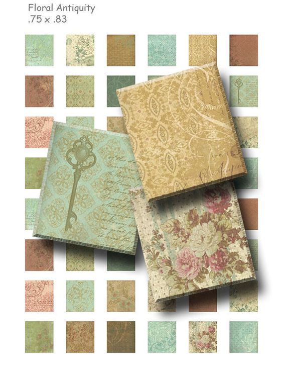 Floral Antiquity  Digital Collage Sheet    75 x 83 by OldMarket, $3.00