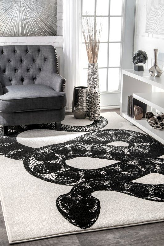 Black White Area Rug Bedroom Decor Home Interior