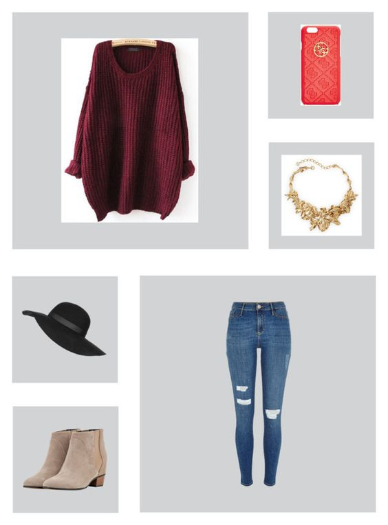 """""""Untitled #228"""" by alyssadesgrange ❤ liked on Polyvore featuring GUESS, Topshop, Oscar de la Renta, River Island, Golden Goose, women's clothing, women, female, woman and misses"""