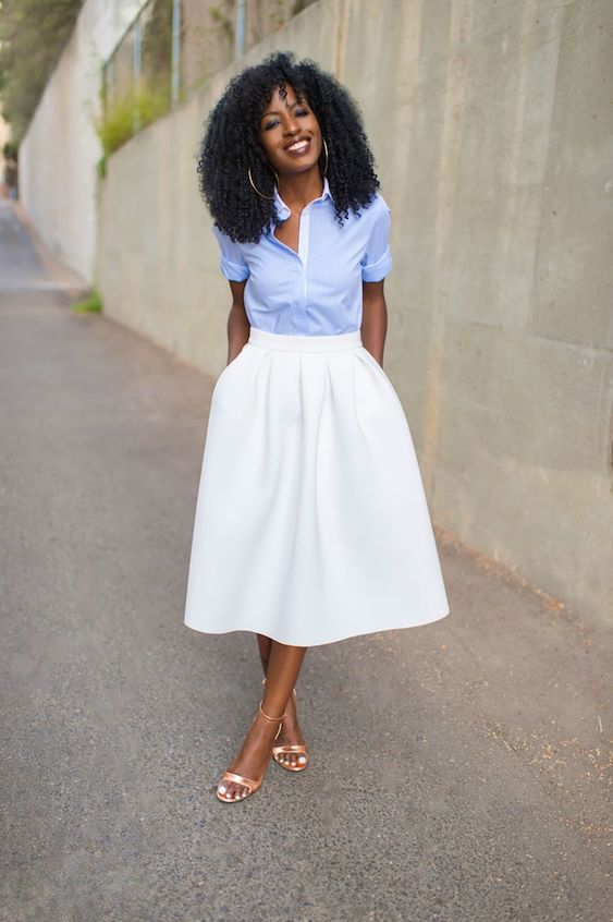 Cute Pin stripe shirt and white pleated midi skirt