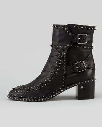 Laurence Dacade Badely Studded Double-Buckle Ankle Boot - Neiman Marcus