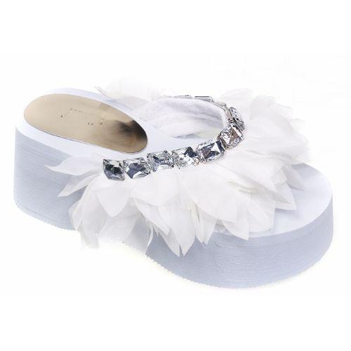 Affordable White Lace Platform Beach Wedding Bridal Party Sandal Shoes  SKU-1090281