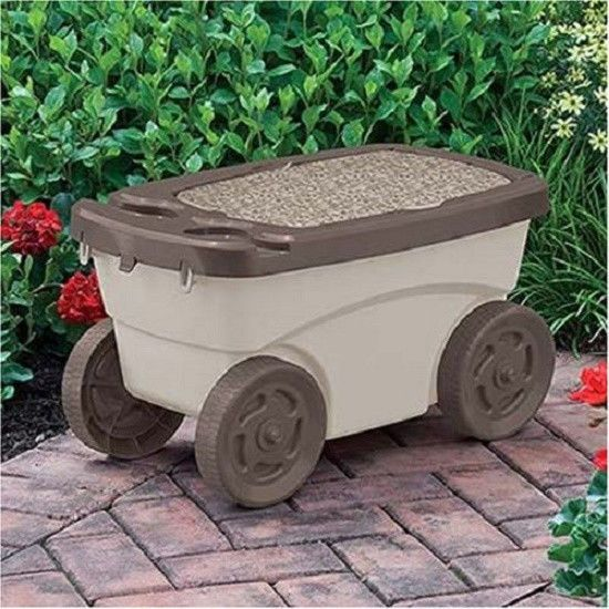 Rolling Work Garden Cart Seat with Tool Tray In The Garden