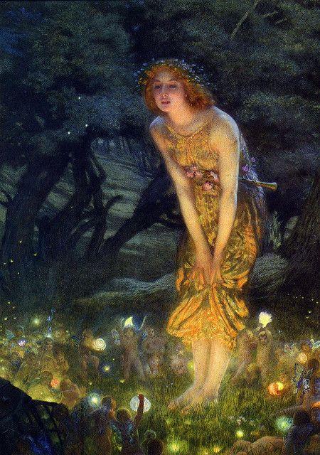 Midsummer Eve ~ artist Edward Robert Hughes, c.1908.   . . . .   ღTrish W ~ http://www.pinterest.com/trishw/  . . . .  #art #Romanticism #mytumblr