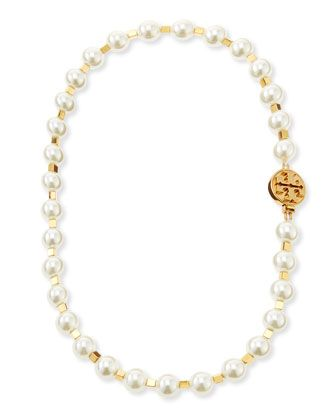 Tilde Short Pearly Necklace, Ivory by Tory Burch at Neiman Marcus.