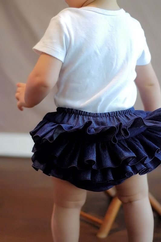 Denim Ruffle Diaper Cover Ruffle Bloomer Panty Skirt Blue Jean ...