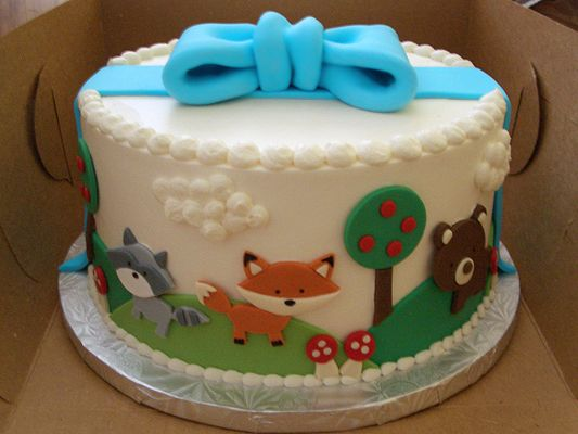 Woodland Animal Baby Shower Cakes | Woodland Animals Baby Shower Cake