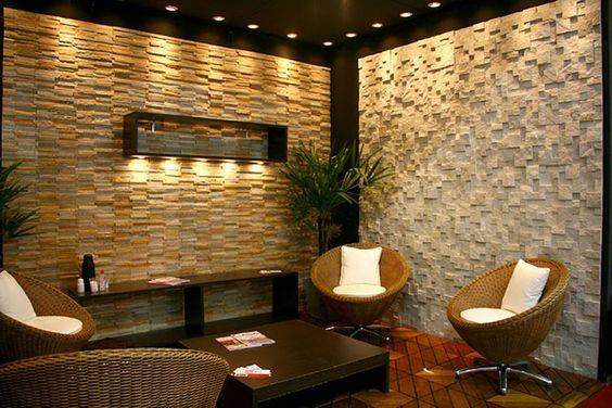 Resultado de imagem para decoração de parede da sala com pedras naturais
