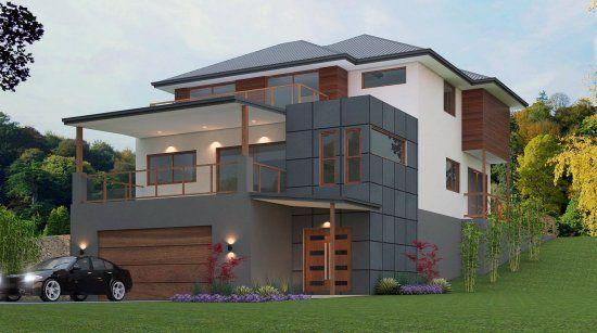 6 Bed Garage Under Home Design 397mt House Plans Australia Australian House Plans Sloping Lot House Plan Modern house plan with garage under