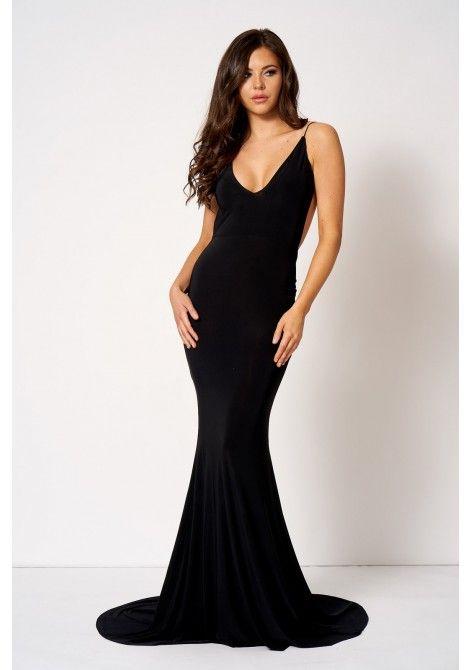 Club L Backless Knot Detail Fishtail Maxi Dress in Black