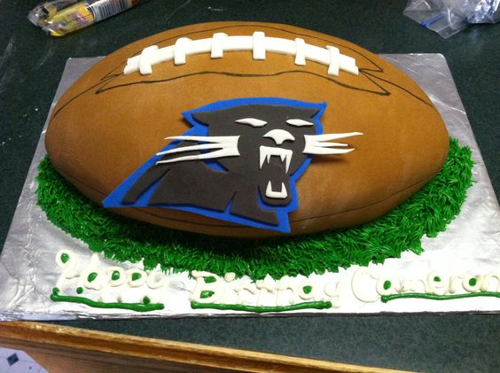 Cake Decorations Football Team : Carolina Panther football cake with fondant decorations ...