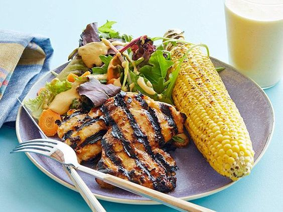 Sweet and Spicy BBQ Chicken with Corn Salad #myplate #letsmove #dairy #fruit #protein #veggies
