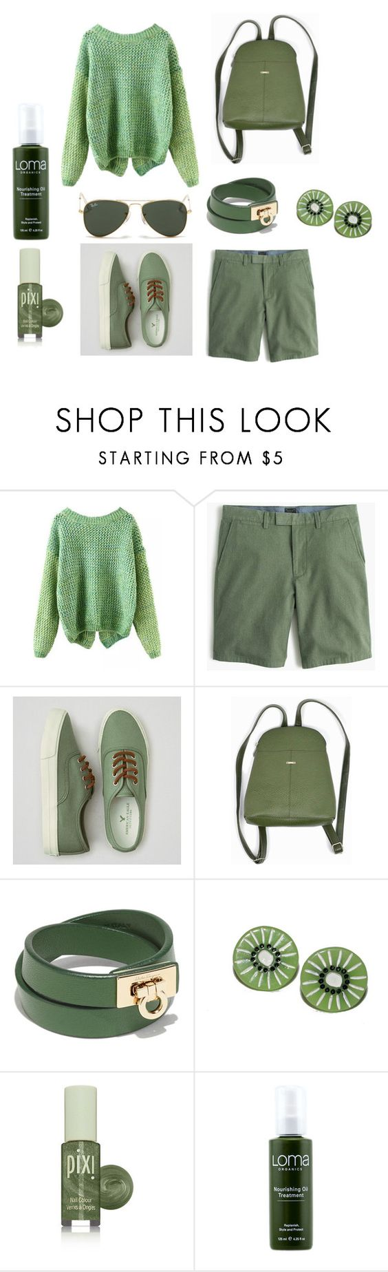 """GREEN"" by lana-smotveeva ❤ liked on Polyvore featuring American Eagle Outfitters, Salvatore Ferragamo, Pixi, Loma, Ray-Ban, women's clothing, women's fashion, women, female and woman"